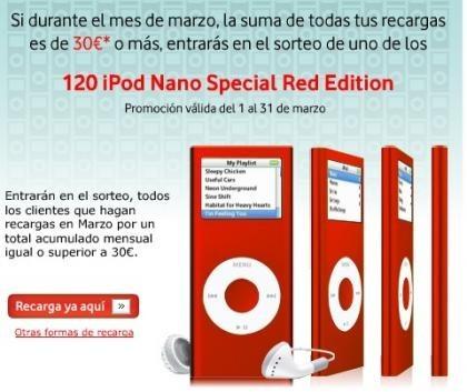 Vodafone sortea iPod Nano por recargar hasta el 31 de marzo