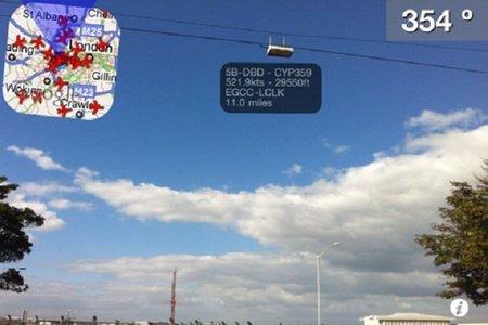 Aplicación para el iPhone Plane Finder AR, apunta al avión y obtén información
