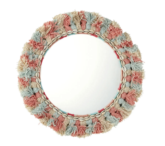 Espejo redondo con pompones multicolores y caracolas D. 48