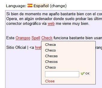 Orangoo Spell Check, corrector ortográfico online