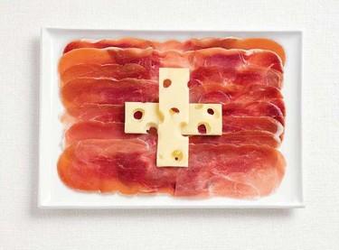 Banderas de países hechas con alimentos
