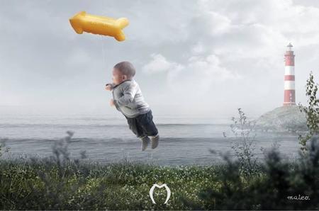 Bebé volando foto original