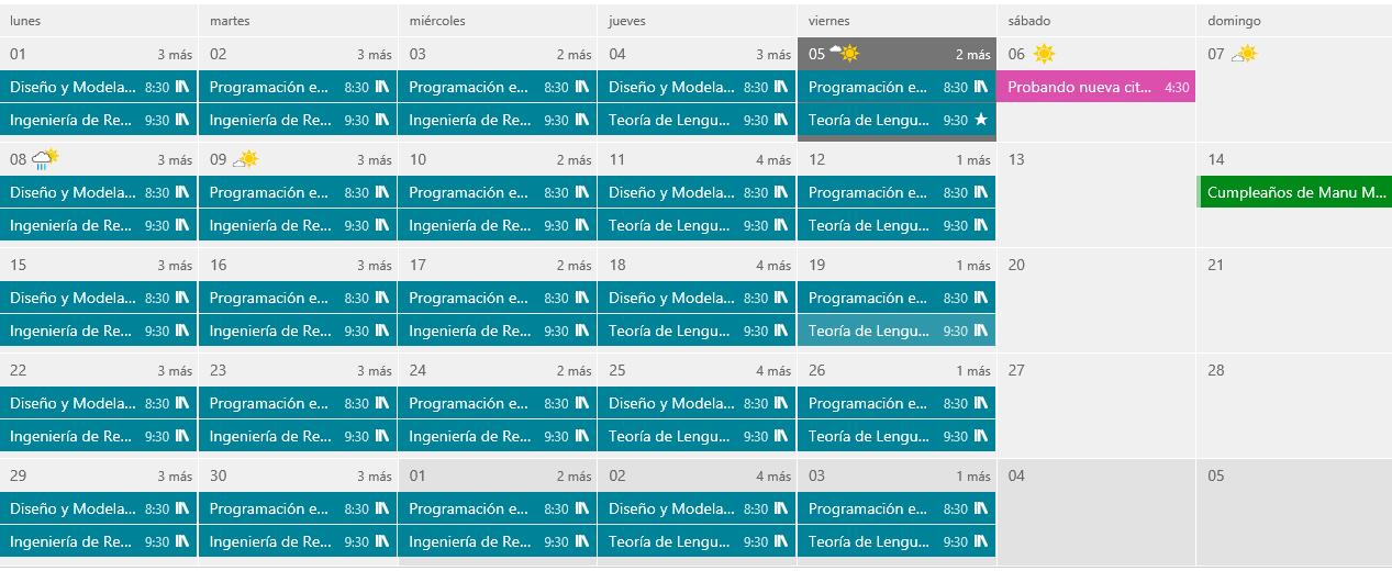 Vistas del calendario de Outlook.com