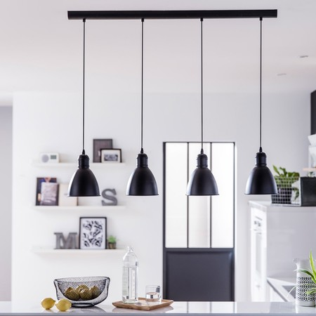 Suspension Industriel Priddy Metal Noir 4 X 60 W Eglo
