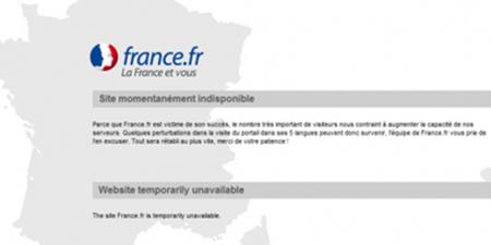 """La """"puerta de Francia"""" en Internet (France.fr) sigue caída al no resistir 25.000 visitas"""