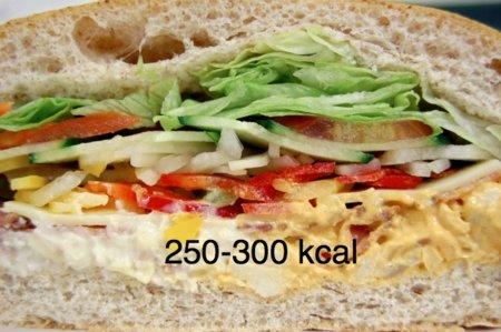 Solución a la adivinanza: un sandwich mixto tiene 250-300 kcal