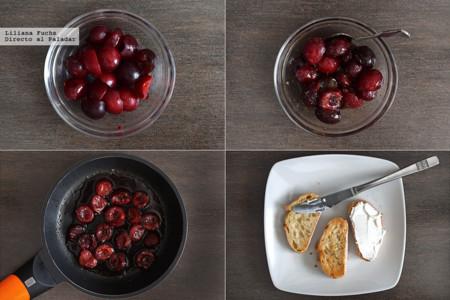 Crostini de Cerezas y Queso. Pasos