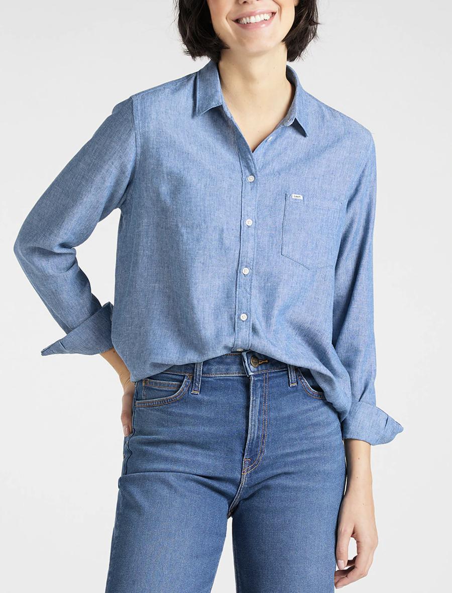 Camisa de mujer de manga larga en azul