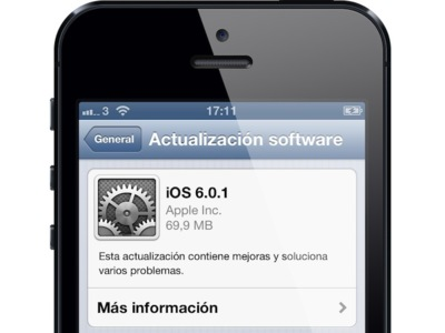 Apple lanza iOS 6.0.1