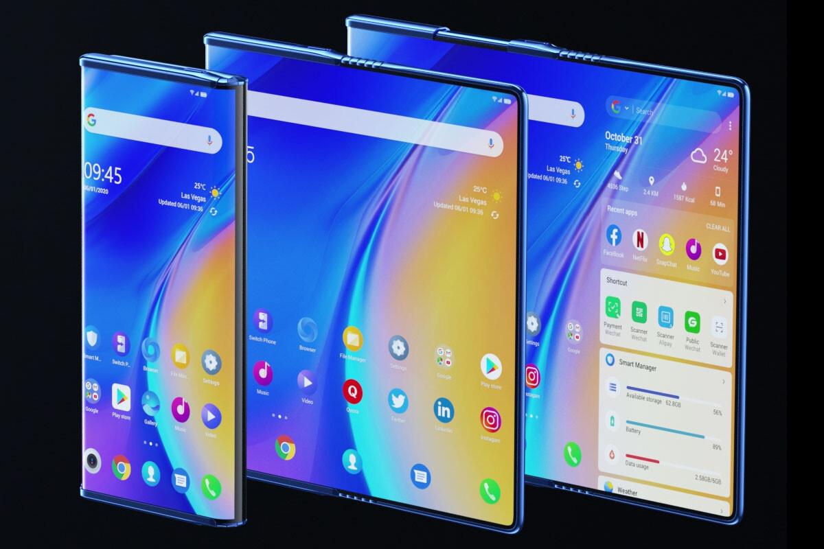 El TCL Fold 'n Roll con su pantalla plegable y enrollable es a la vez móvil, phablet y tablet