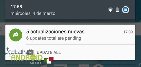 Google Play Actualizar Notificación