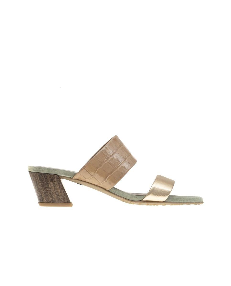 Sandalias de tacón de mujer Mascaró en napa color oro