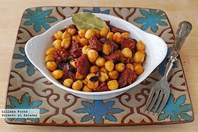 Garbanzos salteados con chorizo y pimentón de inspiración marroquí. Receta