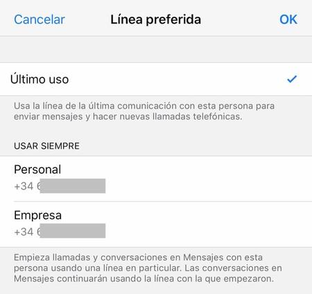 Iphone Contacto Seleccionar Linea