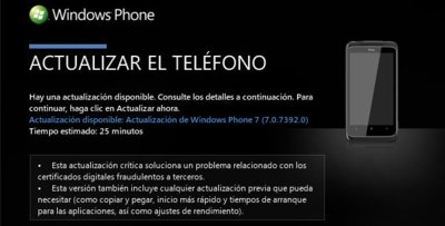 La actualización de seguridad post-NoDo (7392) de Windows Phone 7 comienza a distribuirse