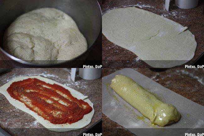 Pan de ajo enrrollado. Pasos