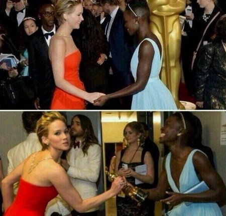 Jennifer Lawrence bromea con Lupita Nyong