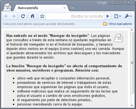 Navegación de incognito Chrome