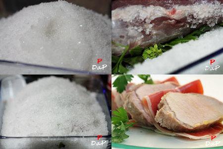 Hacer lomo a la sal con jamón