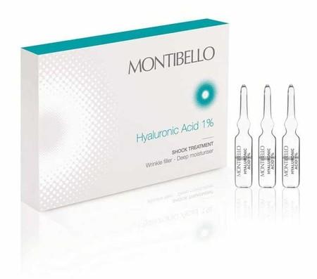 El ácido hialurónico de Montibello en cómodas ampollitas, para aplicar por la noche