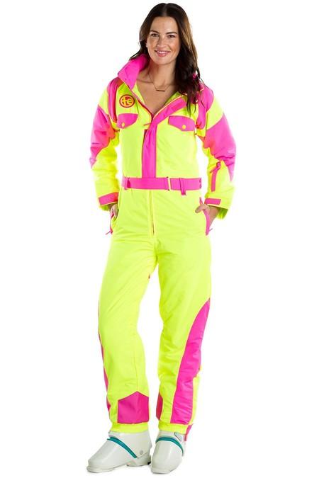 Womens Neon Yellow Ski Suit 001