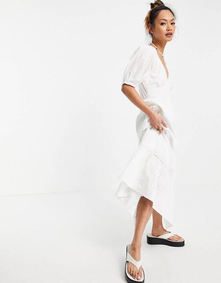 Vestido Largo Blanco De Cintura Fruncida De Bordado Ingles Con Inserto De Encaje De Asos Design