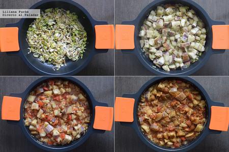 Berenjena en salsa de tomate al curry y coco. Receta. Pasos