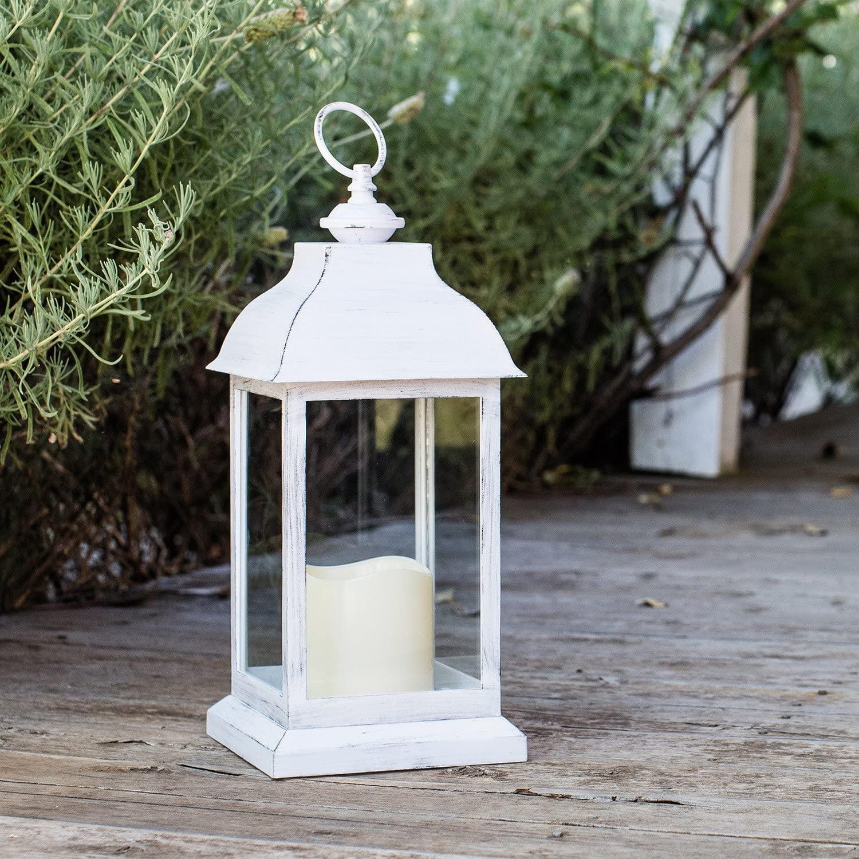 Lights4fun Farol de Plástico Blanco con Acabado Envejecido y Vela LED a Pilas