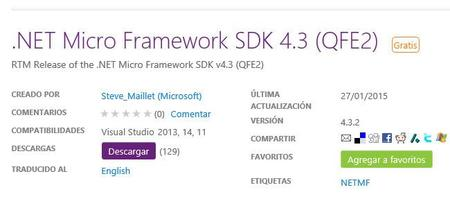 Se actualiza .NET Micro Framework SDK a la versión 4.3.2