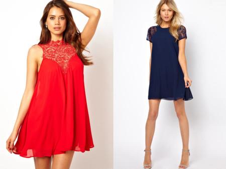 Vestidos lenceros tendencia Navidad 2013 encaje rojo y azul marino Asos