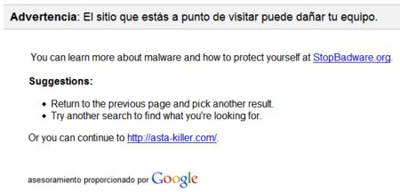 Google te advierte de páginas sospechosas