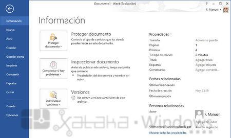 Word 2013, pantalla de información