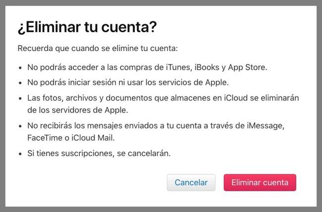 Ultimo Aviso Borrar Cuenta Apple