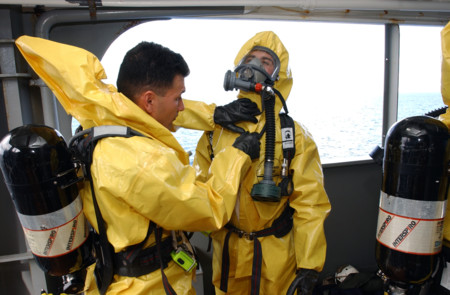 Us Navy 040117 N 0331l 023 Nuclear Biological And Chemical Nbc Disposal Technicians From The 1st Marines 1st Battalion Prepare To Search The Military Sealift Command Msc Combat Stores Ship Usns Saturn T Afs 10