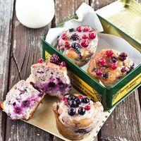 Muffins de frutas rojas y chocolate blanco. Receta
