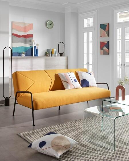 Sofá cama mostaza
