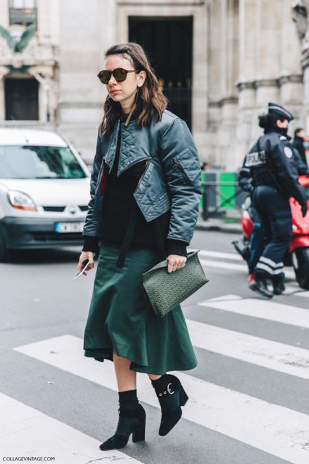 Pfw Paris Fashion Week Fall 2016 Street Style Collage Vintage Stella Mccartney Natasha Goldenberg Loewe Clutch Celine Shoes Bomber 1