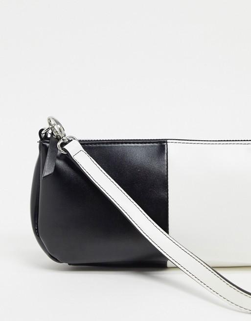 Bolso de hombro estilo años 90 monocromático en blanco y negro
