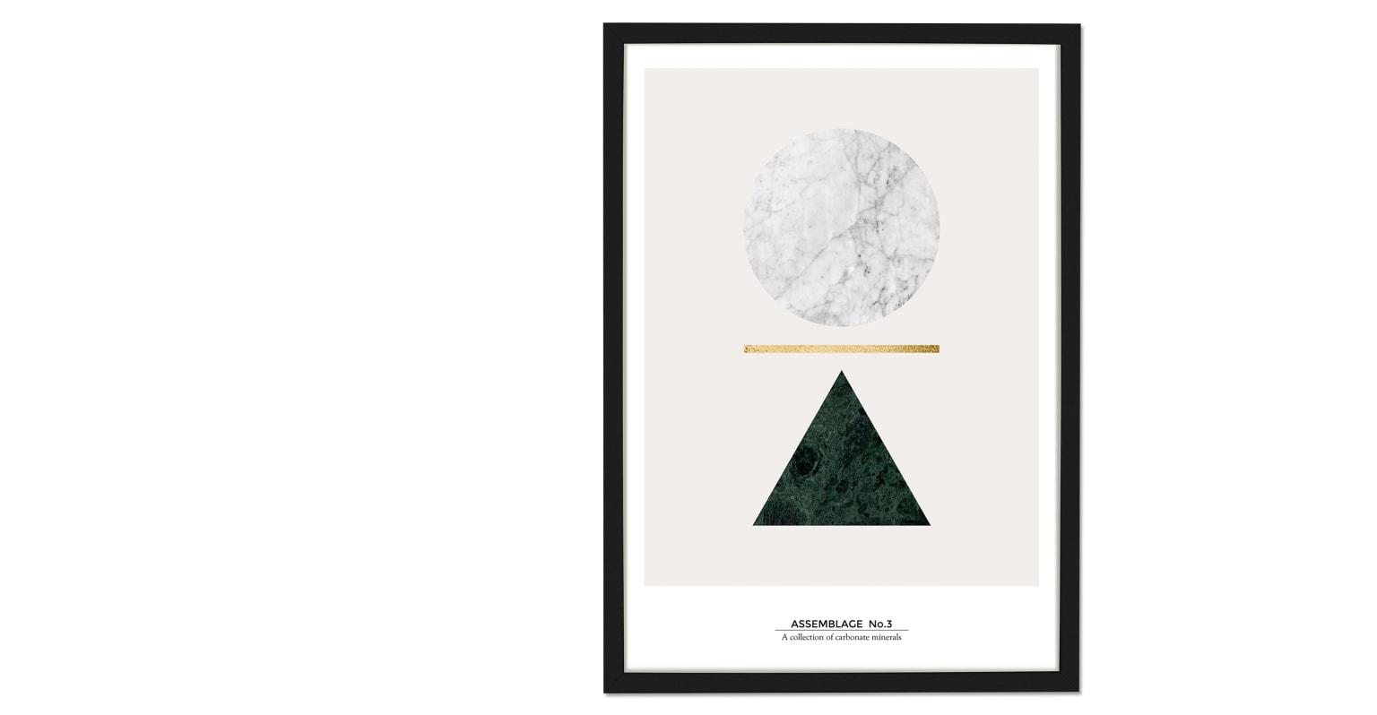 Assemblage. Lámina de arte Assemblage Colección 2, 50 x 70, mármol y pan de oro