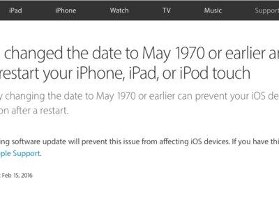 Apple reconoce el bug '1970': lo solucionará mediante una actualización