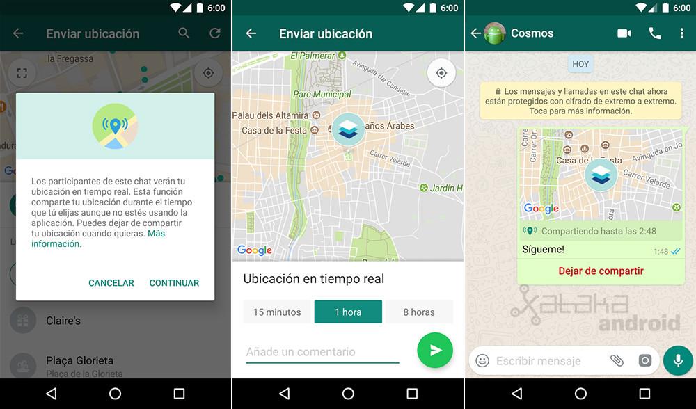 Whatsapp localización tiempo real