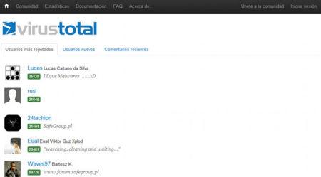 VirusTotal, comunidad de usuarios