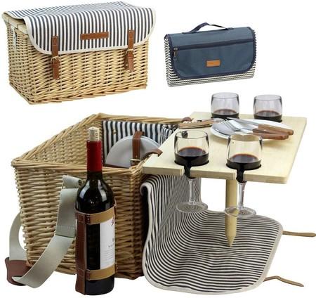 Cesta de picnic con mesita