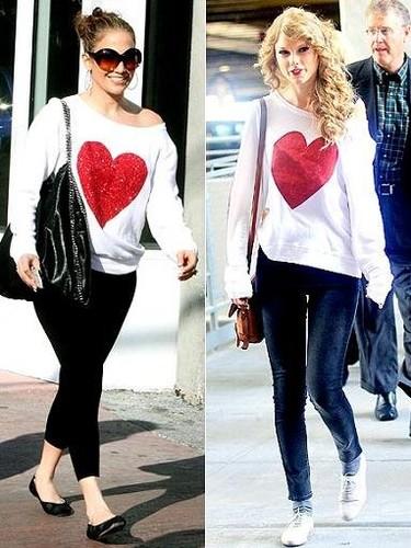 Camiseta con corazón, ¿quién la luce mejor?: Jennifer López y Taylor Swift