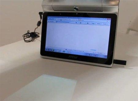 MSI prueba con un tablet con proyector