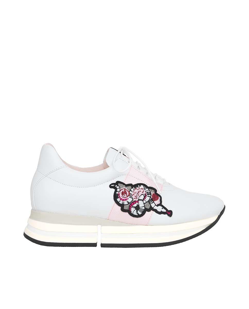 Zapatillas blancas de plataforma con detalle bordado