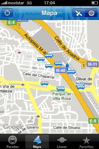 Mapa, vista con nuestra posición actual y paradas cercanas
