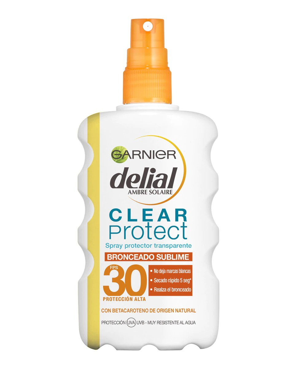 Spray protector transparente Clear Protect bronceado sublime FPS 30 Garnier Delial