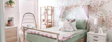 Before and after: a children's bedroom that is updated with wall tiles, textiles and accessories