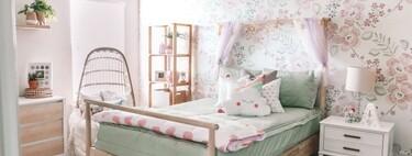 Antes y después: un dormitorio infantil que se actualiza con revestimientos, textiles y complementos